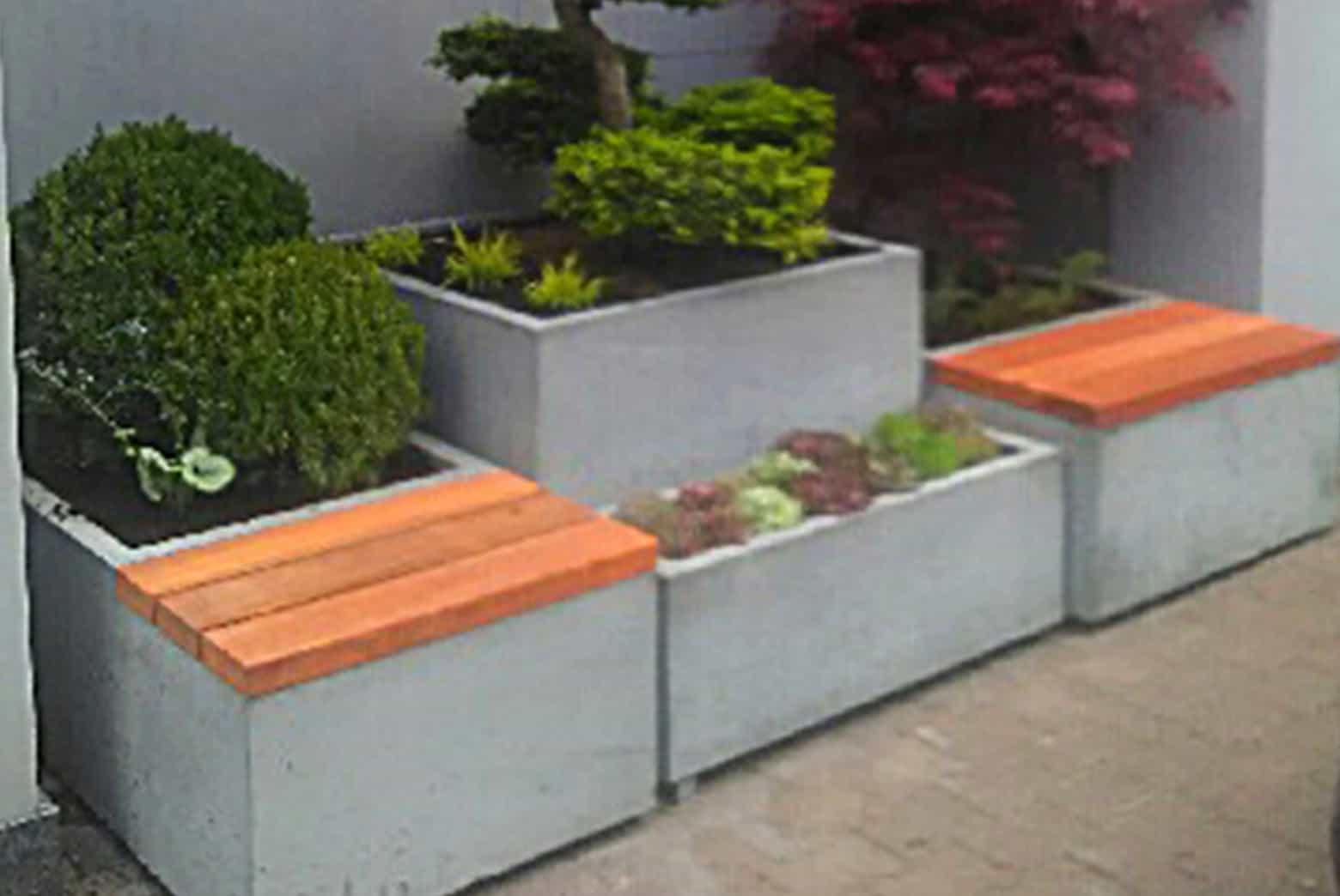 Donice betonowe z ławką